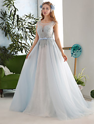 Ball Gown Wedding Dress-Court Train Jewel Lace / Tulle / Sequined