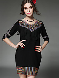 Plus Size Women Dress Ethnic Vintage Embroidery Fashion Patchwork Tassel Pocket 3/4 Sleeve Loose Dress