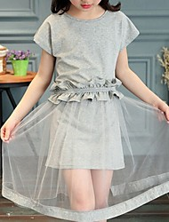 Girl's Gray Dress,Lace Cotton Summer