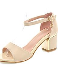 Zapatos de mujer-Tacón Robusto-Tacones-Sandalias-Boda / Vestido / Casual / Fiesta y Noche-Materiales Personalizados-Negro / Rojo / Beige