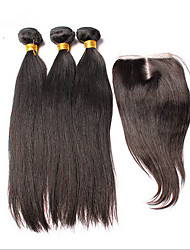 3pcs Lot Brazilian Virgin Hair  With  Closure Straight Human Hair Extensions Natural Black Hair Weaves