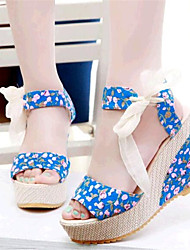 Women's Summer Wedges / Heels Leatherette Outdoor / Casual Wedge Heel Lace-up Black / Blue / Multi-color / Beige