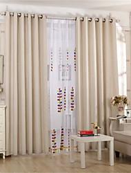Deux Panneaux Le traitement de fenêtre Rustique Européen , Couleur Pleine Salle de séjour Lin Matériel Rideaux occultants rideaux