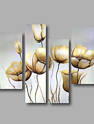 """fertig gestreckte Hand gemaltes Ölgemälde 44 """"x36"""" Leinwand Wandkunst moderne Blumen weiße Tulpen hängen"""