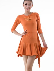 Latin Dance Dresses Women's Training Lace / Milk Fiber Draped / Lace 2 Pieces Black / Orange / Purple / Red Latin Dance 3/4 Length Sleeve