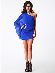 Women's Party/Cocktail Sexy Bodycon / Chiffon Dress,Solid One Shoulder Mini Sleeveless Blue Others Summer