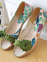 Women's Shoes Heel Peep Toe Sandals Outdoor / Dress / Casual Green / Purple/527
