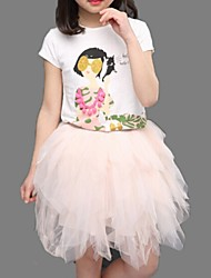 Girl's Pink / White Dress,Lace Cotton Summer