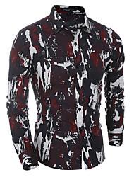 Camisa De los hombres Estampado Casual / Formal-Algodón-Manga Larga-Verde / Rojo