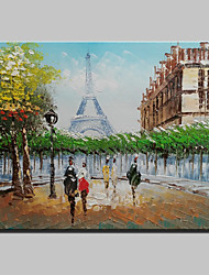 Mini Size Hand-Painted Paris Eiffel Tower Landscape Modern Oil Painting On Canvas One Panel Ready To Hang