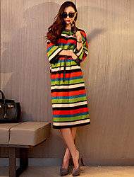 Women's Casual / Day / Simple Striped / Rainbow Shift Dress , Round Neck Midi Polyester