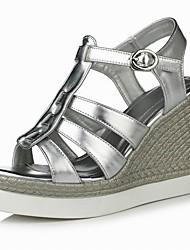 Women's Shoes Wedge Heel Wedges / Heels / Comfort / Open Toe Sandals Outdoor / Dress Silver / Taupe