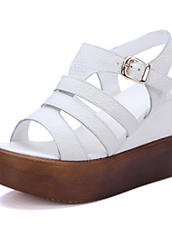 Women's Shoes Nappa Leather Wedge Heel Wedges / Gladiator Sandals Office & Career / Dress / Casual White