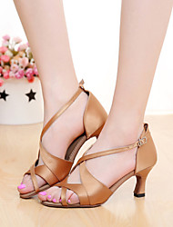 SUN LISA Customizable Women's Dance Shoes Latin / Salsa Satin Customized Heel Black / Brown / Purple / Red / Other