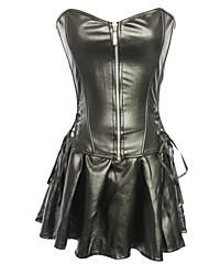 Для женщин Набор с корсетом / Большие размеры Ночное белье Сексуальные платья Однотонный Полиуретановые Черный Женский