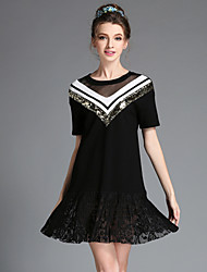 Fashion Vintage Women Sexy See Through Lace Pleat Patchwork Sequins Loose Casual Party Plus Size Dress