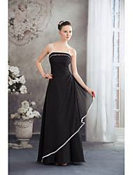 Formal Evening Dress A-line Spaghetti Straps Floor-length Chiffon with Side Draping