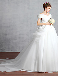 Princess Wedding Dress-White Cathedral Train Off-the-shoulder Cotton