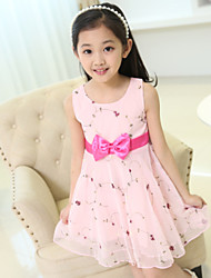 Girl's Cotton Summer Bowknot Decoration Floral Dress