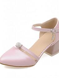 Zapatos de mujer-Tacón Robusto-Tacones-Tacones-Exterior / Oficina y Trabajo / Fiesta y Noche-Semicuero-Azul / Rosa / Blanco
