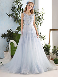 Princess Wedding Dress-Sky Blue Chapel Train Scoop Lace / Tulle