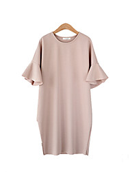 Women's Flare Sleeve Plus Size Simple Loose Dress,Solid Round Neck Knee-length ½ Length Sleeve Pink / White / Black Polyester Summer