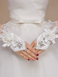 Wrist Length Fingerless Glove Satin / Lace Bridal Gloves / Party/ Evening Gloves Ivory Floral / Embroidery / Rhinestone / lace