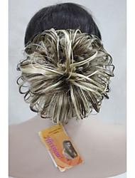 "Three Tone Light Brown Mix 6"" Dome Wiglet Drawstring Ponytail Bun Cover Hair Pieces E-KELLI AB461"