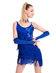 Latin Dance Dresses Women's Performance Sequined / Milk Fiber Tassel(s) 1 Piece Sleeveless Natural Dress