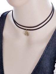 Fashion Vintage Women Jewelry Four Leaf Clover Pendant Necklace Double Bblack Fabric Necklace Accessories Gift