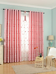 Two Panel Europe Simple Sweet And Pure And Fresh Style Of Children Room Sitting Room Bedroom Embroidered Cotton Curtains