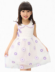 Girl's Pink / Purple Dress,Floral / Lace Cotton Summer