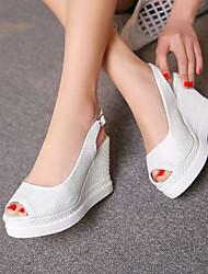 Фиолетовый / Белый-Женская обувь-Для прогулок / Для праздника / На каждый день-Дерматин-На танкетке-На танкетке / На каблуках / С