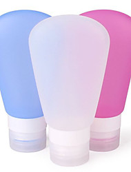 3Pcs 60ml Silicone Travel Bottles Set Fan-Shaped Squeezable Leakproof Reusable Cosmetic Containers Red Blue White