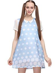 Vestido de maternidad Sobre la rodilla Ahuecado-Poliéster-Escote Redondo Manga Corta