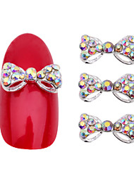 3d Alloy Rhinestone Bow Tie Nail Art Decorations,10pcs Crystal DIY Nail Glitter Accessories Jewelry,Nail Supplies