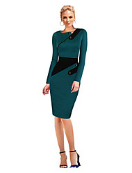 Women's Street chic Sheath Dress,Patchwork Asymmetrical Knee-length Long Sleeve Green Cotton Spring