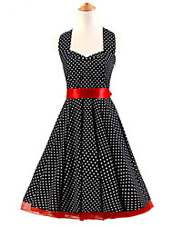 50s Era Vintage Style Halterneck Rockabilly Dress Cosplay Costume Black White Mini Polka Dot (with Petticoat)