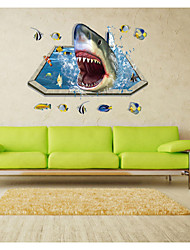 9023 Fantastic Sealifes Submarine Wall Stickers Room Decoration Coral Shark Fish Home Decals Bathroom Mural Art