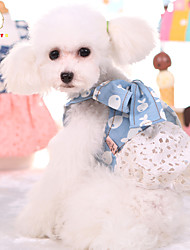 Cute Dog Puppy Denim Bow Lace Dress Dog Cat Pet  Skirt Princess Dress Summer Dog Cowboy Costume Clothes