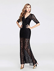 Formal Evening Dress - See Through Trumpet / Mermaid V-neck Ankle-length Lace Tulle with Lace