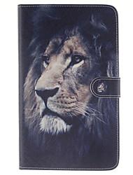 der Löwe Muster PU-Leder Ganzkörper-Fall mit Standplatz und Kartenschlitz für Samsung Galaxy Tab e 8.0 t377 t375