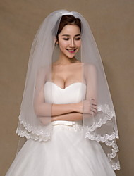Wedding Veil Two-tier Fingertip Veils Lace Applique Edge Tulle Ivory Ivory