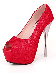 Women's Shoes Lace/Stiletto Heel/Peep Toe/Platform/Open Toe Heels Wedding Shoes/Party & Evening/Dress Black/Red