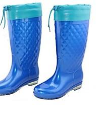 FemininoBotas de Chuva-Salto Baixo-Azul / Caqui-PVC-Ar-Livre