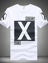 Tee-Shirt Pour des hommes Rayé Décontracté / Travail / Sport / Grandes Tailles Manches Courtes Coton / Spandex Noir / Blanc