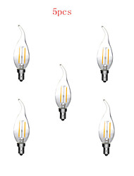 5pcs E14 2W 180LM Warm/Cool White Candle Bulbs 360 Degree LED Filament Lamp (220V)