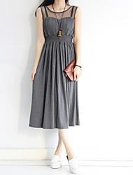 Mulheres Vestido Bainha Vintage / Moda de Rua Sólido Médio Decote Redondo Algodão / Nylon