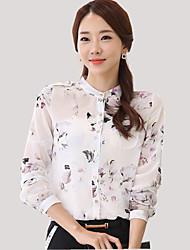 De las mujeres Floral Camisa-Escote Chino-Poliéster-Manga Larga
