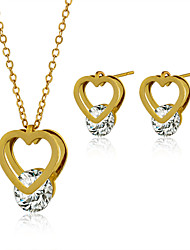 Jewelry Set Stainless Steel Zircon Titanium Steel Fashion Heart Golden Necklace/Earrings Wedding Party Daily Casual 1setNecklaces
